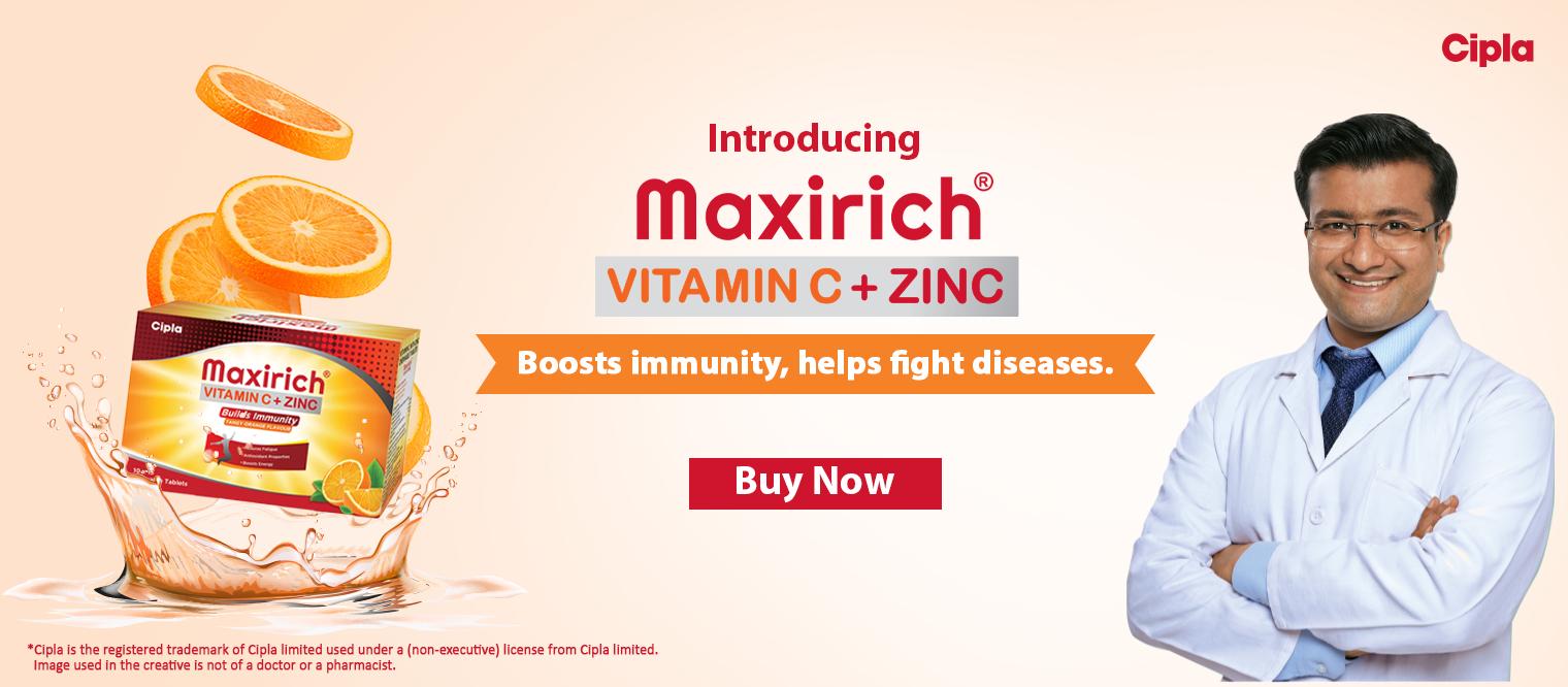 Maxirich Vitamin C + Zinc - Boost Immunity,helps fight diseases
